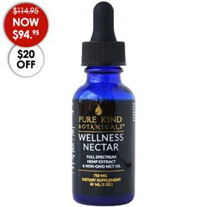 <ul> <li>750 mg full spectrum hemp oil</li> <li>25mg/dropper</li> <li>1-oz (30 ml) dropper bottle</li> </ul> <p></p> <p>The Pure Kind Botanicals 750mg Wellness Nectar is a top seller for a reason. It is just the right balance between effective wellness support and value as you begin by taking 5 drops under the tongue in the morning and again at night.</p> <p>Pure Kind Botanicals uses a slow and gentle ethanol extraction to preserve the full spectrum of trichomes, cannabinoids, terpenes and flavonoids for the most natural and effective tincture available. Excellent for pain, inflammation, anxiety and even anti-spasmodic disorders.</p>