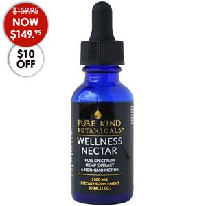 <ul> <li>1500 mg full spectrum hemp oil</li> <li>50mg/dropper</li> <li>1-oz (30 ml) dropper bottle</li> </ul> <p></p> <p>The Pure Kind Botanicals 1500mg Wellness Nectar is one of our top sellers for a reason. It is just the right balance between effective wellness support and value as you take 3-5 drops under the tongue in the morning and again at night.</p> <p>Pure Kind Botanicals uses a slow and gentle ethanol extraction to preserve the full spectrum of trichomes, cannabinoids, terpenes and flavonoids for the most natural and effective tincture available. Excellent for pain, inflammation, anxiety and even anti-spasmodic disorders.</p> <p></p>