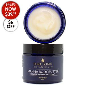 <ul> <li>full spectrum hemp extract (including 220 mg CBD)</li> <li>2 oz jar</li> </ul> <p></p> <p>This luxurious topical cream is very smooth and deeply enriching leaving your skin silky soft and smooth. This is quite possibly the best moisturizing cream on the planet. You will love using it on both your face and body.</p> <p>Manna Body Butter is deeply moisturizing and ultra light. We naturally capture the essence of the seed so you can enjoy the enriching moisture without perfume scents found in other manna body butters.</p> <p>The yummy ingredients include mango butter, MCT oil, organic avocado oil, organic jojoba oil, organic apricot oil, raspberry oil, vitamin E oil and our premium full spectrum hemp extract (including 220 mg CBD).</p> <p></p>