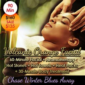 """<p><strong>90-Minute <span style=""""color: #ff6600;"""">Volcanic Orange Facial</span> with <span style=""""color: #80c441;"""">Hot Stone Body Treatment <span style=""""color: #000000;"""">($160 Value)</span></span></strong></p> <p>Includes:</p> <ul> <li>60-Minute Hydrating Facial with Steam</li> <li>Aromatherapy</li> <li>Hot Stones</li> <li>Hot Towels</li> <li>Heat Packs</li> <li>30-Minute Nourishing Body Treatment</li> </ul> <p></p> <p>Prepare to be swept away into a tropical climate by this 90-Minute Volcanic Orange Facial. Endless To-Do's. Bitter cold. Winter blues. Chapped hands. Our Volcanic Orange Facial is the answer. Take a mini-vacation from the daily grind. Seek time for yourself to rest, relax, and rejuvenate your mind, body & soul.</p>"""
