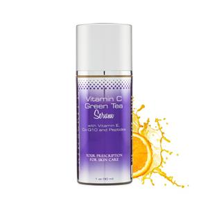 """<ul> <li><span style=""""font-size: 12pt;"""">15% Vitamin C/Green Tea Serum with Vitamin C, Co-Q10, and Peptides</span></li> <li><span style=""""font-size: 12pt;"""">For all skin types </span></li> </ul> <p>&nbsp;</p> <p><span style=""""font-size: 12pt;"""">This anti-aging serum gives the skin a boost in brightening, cellular repair, hydrating and soothing for soft, glowing skin.</span></p> <h1><span style=""""font-size: 12pt;"""">VITAMIN C – Incredible Anti-Aging Benefits</span></h1> <p>It is no secret that vitamin C has some incredible anti-aging benefits. Here are a few reasons why everyone can benefit from including vitamin C in your daily skincare routine:</p> <p>1) Reduces wrinkle depth and repairs collagen: As you age, collagen breaks down and wrinkles begin to form. Stabilizing your skin's levels of vitamin C can help to counteract wrinkle formation by increasing collagen production.</p> <p>2) Brightens and tones tissue: Age spots are essentially sun damage, and Vitamin C is a powerful antioxidant, shown to reduce the number of sunburned cells as well as reverse age-related damage to skin. While it's not a replacement for sunscreen, Vitamin C protects against and may repair UV damage like discoloration and fine lines.</p> <p>3) Anti-Aging: Taking Vitamin C through a supplement or food is beneficial to your health, but to specifically target signs of aging on your face, topical Vitamin C is best. In fact, applying Vitamin C to the skin can be 20 times more effective than taking it orally.</p> <p><span style=""""font-size: 12pt;""""></span></p>"""
