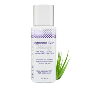 """<ul> <li>With Aloe, CoQ10, Alpha Lipoic Acid</li> <li>For normal/combination and sensitive skin</li> <li>Improves surface hydration</li> <li>Encourages proper moisture levels</li> <li>Normalizes water/oil balance</li> <li>Soothes and calms</li> <li>Improves skin appearance</li> </ul> <p></p> <p>The Ageless Skin Moisturizer provides hydration without leaving a heavy feel on the skin's surface. It promotes hydration that protects from environmental damage while relieving the surface signs of aging. It hydrates and protects your skin with the healing benefits of aloe; CoQ10 stimulates collagen and tightens the elastin in the skin.</p> <p><span style=""""font-size: small;""""><span style=""""font-family: 'comic sans ms', sans-serif;""""></span></span></p> <p></p>"""