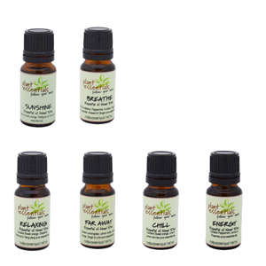 """<div class=""""row""""> <div class=""""col-sm-12""""> <div class=""""box collection-box""""> <div class=""""rte""""> <p>Create a nurturing home with locally made ready to use combinations of 100% pure essential oils & 4% jojoba dilutions. All Plant Essential oil blends are hand blended using our range of 100% pure essential oils for your pleasure or purpose. Choose from;</p> </div> <p>-Breathe</p> <p>-Chill</p> <p>-Far Away</p> <p>-Relaxing</p> <p>-Sunshine</p> <p>-Energy</p> </div> </div> </div> <div class=""""title clearfix""""></div> <p>&nbsp;</p>"""