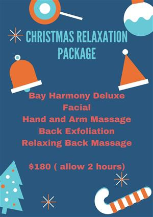 <p><strong><b>Christmas Package 3</b></strong></p> <p>Express Rejuvenation Facial</p> <p>Dry Body Brush of Back</p> <p>Back Exfoliation</p> <p>Back Massage to soothe tired muscles</p> <p>and hydrate the skin</p> <p>$130 (allow 1.5 hours)</p>