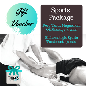 <p><strong>Sports Package (Allow 1 ½ hours)                      </strong></p> <ul> <li><em>Deep Tissue Magnesium Oil Massage- 55 minutes    </em></li> <li><em>Endermologie Sports Treatment- 30 minutes    </em></li> </ul> <p>&nbsp;</p> <p>Suitable for the active person to prepare for exercise, enhance performance, aid recovery and prevent injury. The magnesium oil penetrates and loosens tight muscle fibres during the deep tissue massage. The Endermologie treatment enhances blood and oxygen supply and drains the tissue of lactic acid and other wastes.</p>