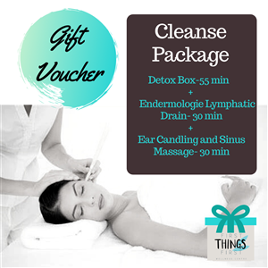<p><strong>Cleanse Package (Allow 2 ¼ hours)                    </strong></p> <ul> <li><em>Detox Box-55 minutes    </em></li> <li><em>Endermologie Lymphatic Drain- 30 minutes   </em></li> <li><em>Ear Candling and Sinus Massage- 45 minutes     </em></li> </ul> <p>&nbsp;</p> <p>Purify and freshen your body with this multifaceted detoxification package. Start with a far infrared detox box to sweat out chemicals and heavy metals. The endermologie lymphatic drain directs waste products to the kidneys for elimination. Lastly the sinus passages and ear canals are spring cleaned with ear candling.</p>
