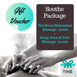 <p><strong>Soothe Package (Allow 1 3/4 hours)    </strong></p> <ul> <li>Hot stone relaxation massage- 75 minutes    </li> <li>Scalp, Face & Feet Massage- 30 minutes    </li> </ul> <p>&nbsp;</p> <p>This package is for the stressed, anxious and overworked person. It is the ultimate relaxation treatment using soothing warm stones from head to toe. Scalp, face & feet massage are added to further encourage the body to to release tension, calm and unwind.</p> <p>&nbsp;</p>