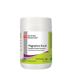 <p>Oriental Botanicals Magnesium Excel is a combination of magnesium glycinate (a highly bioavailable form of magnesium), amino acids, B complex vitamins and minerals. Nutrients in this formula:</p> <ul> <li>Support muscle function and relaxation</li> <li>Replenish electrolyte balance post exercise</li> <li>Maintain energy levels</li> <li>Support neuromuscular function</li> <li>Assist blood glucose metabolism</li> <li>Provide symptomatic relief of premenstrual tension</li> <li></li> </ul> <p>Magnesium Excel also assists with the following when dietary intake of magnesium is inadequate:</p> <ul> <li>Reduces the occurrence of muscular cramps and muscle fatigue</li> <li>Maintains muscular strength</li> <li>Maintains physical endurance and improves muscle performance</li> <li>Decreases sleeplessness and supports healthy sleeping patterns</li> <li>Supports cardiovascular system function</li> </ul> <p>&nbsp;</p> <p>Available in Lemon-Lime Zing or Watermelon flavoured powder</p>
