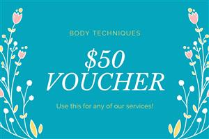 """<h4><span style=""""font-size: 12pt;""""><em>Purchase your voucher here to gift to a friend.</em></span></h4> <h4><span style=""""font-size: 12pt;""""><em>This voucher will entitle your friend to $50 toward any products or services. Treatment bookings are essential.</em></span></h4>"""