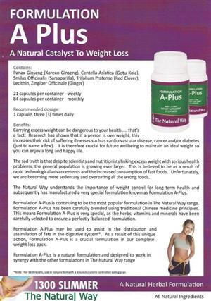 "<p>Essential for continued weight loss, Formulation A+ may also help to ""calm"" your appetite, and assists in lowering cholesterol while improving digestion and energy. An excellent source of natural vitamins and minerals, Formulation A+ is the ""flag ship"" of our weight loss Programme.</p>