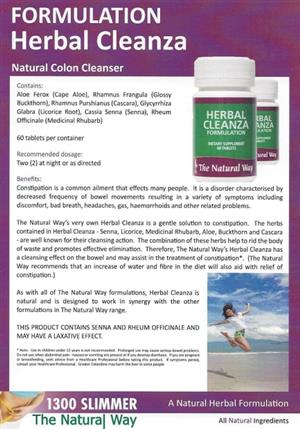 <p><strong>NATURAL COLON CLEANSER</strong></p> <p><strong>Benefits:</strong></p> <p>Constipation is a common ailment that effects many people. It is a disorder characterised by decreased frequency of bowel movements resulting in a variety of symptoms including discomfort, bad breath, headaches, gas, haemorrhoids and other related problems. A natural cure for constipation, laxative, increase bowel movement.</p> <p>The Natural Way's very own natural remedy formulation<strong>Herbal</strong><strong>Cleanza</strong>is a gentle solution to constipation. The herbs contained in<strong>Herbal</strong><strong>Cleanza</strong>– Senna, Licorice, Medicinal Rhubarb, Aloe, Buckthorn and Cascara – are well known for their cleansing action. The combination of these herbs help to rid the body of waste and promotes effective elimination. Therefore, The Natural Way's<strong>Herbal</strong><strong>Cleanza</strong>has a cleansing effect on the bowel and may assist in the treatment of constipation*. (The Natural Way recommends that an increase of water and fibre in the diet will also aid with relief of constipation.)</p> <p>As with all of The Natural Way formulations,<strong>Herbal</strong><strong>Cleanza</strong>is natural and is designed to work in synergy with the other formulations in The Natural Way range</p> <p>THIS PRODUCT CONTAINS SENNA AND RHEUM OFFICINALE AND MAY HAVE A LAXATIVE EFFECT.</p>