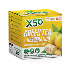 """<p>X50- Green Tea + Resveratrol, a versatile supplement to support living a fit and healthy lifestyle. Key ingredients are Green Tea, recognised as one of the world's most potent super foods and Resveratrol, a powerful antioxidant with anti-ageing properties.</p> <p>Helps keep you hydrated, full of energy, improves digestive health, boosts physical performance and supports fat loss to name a few of the 200 plus health benefits.</p> <div class=""""text_exposed_show""""> <p>Packed in handy single serve sachets –all you have to do is mix with 600 ml of super chilled water, shake and drink. Each serve contains antioxidants, polyphenols, catechins and EGCG normally found in up to 20 cups of regular green tea!</p> <p>Keto friendly containing 1.5g carbs per sachet.</p> <p>Available in a variety of flavours</p> </div>"""