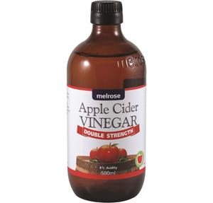 """<p>Apple Cider Vinegar is a type of vinegar made by the fermentation of apple juice. During this process, sugar in the apple cider is broken down by bacteria and yeast into alcohol (cider) and then into vinegar. It contains acetic acid, lactic, citric and malic acids. It also contains pectin, trace minerals, potassium, beneficial bacteria and enzymes.</p> <p>Melrose Double Strength Apple Cider Vinegar contains the """"mother"""" and is not filtered or pasteurised. Melrose Double Strength Apple Cider Vinegar can be used in numerous applications, due to the high acid content. It can be taken after consuming fatty foods, it also can be added to salad dressings, used to pickle foods (natural preservative) or simply taken with water.</p>"""