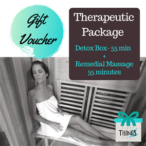 <p><strong>Therapeutic Package (Allow 2 hours)</strong></p> <ul> <li><em>Detox Box- 55 minutes   </em></li> <li><em>Remedial Massage-55 minutes </em></li> </ul> <p>&nbsp;</p> <p>Releasing and healing of the body is the focus of this package.The detox box works to loosen and warm the muscles for an enhanced massage experience to follow.</p> <p>&nbsp;</p>