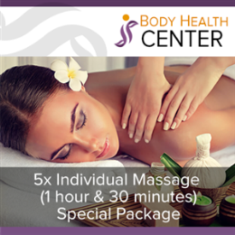 5 x Individual Massage - 1h 30m (Special Package)