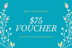 """<h4><span style=""""font-size: 12pt;""""><em>Purchase your voucher here to gift to a friend.</em></span></h4> <h4><span style=""""font-size: 12pt;""""><em>This voucher will entitle your friend to $75 toward any products or services. Treatment bookings are essential.</em></span></h4>"""