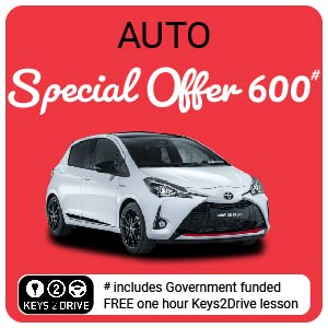 10 Hour Special 600  inc. FREE Keys2Drive (auto) at L PASSO Driving School