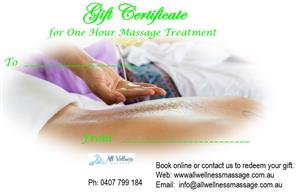 Gift Certificate 60 Min Massage at All Wellness Massage