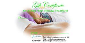 Gift Certificate 30 Min Massage at All Wellness Massage