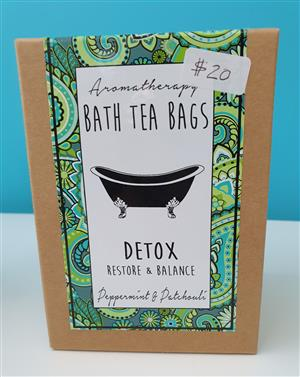 <p>Our DETOX blend features Peppermint & Patchouli essential oils and added Peppermint Tea. A DETOX soak will restore your skin and body balance. It is also fabulous if you are suffering from a cold, with Peppermint oil being a very effective decongestant.</p>