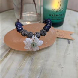 Lapis and Chalcedony Diffuser Bracelet - M