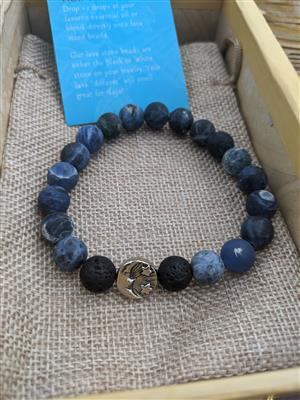 Lapis and Lava Diffuser Bracelet- L/XL at Harmony Healing Room
