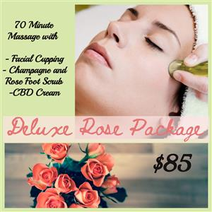 <p>Our Upgraded Rose Package including a 70 minute massage with CBD, facial cupping and a champagne and rose foot scrub.</p>