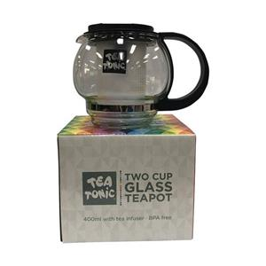 <p>Tea Tonic Glass Teapot</p> <p>Glass Teapot with plastic infuser (400ml)</p> <p>Presented in a Tea Tonic Classy Silver Box</p> <p>Infuser is BPA free!</p>