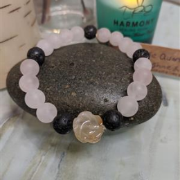 Rose Quartz and Carnelian Diffuser Bracelet - S/M