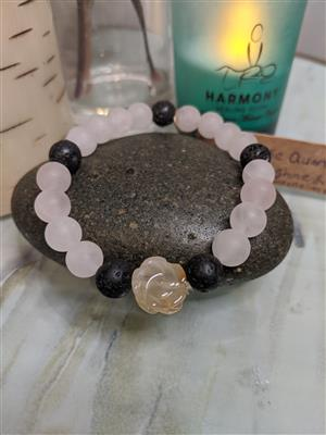 Rose Quartz and Carnelian Diffuser Bracelet - S/M at Harmony Healing Room