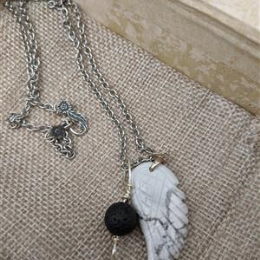 Howlite Angel Wing Diffuser Necklace
