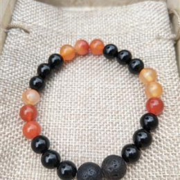 Onyx and Carnelian Diffuser Bracelet - M/L