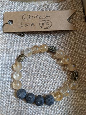 Citrine and Lava Stone Diffuser Bracelet - XS at Harmony Healing Room