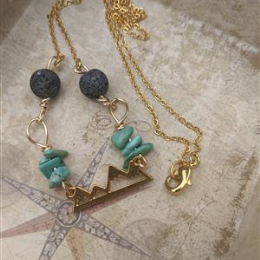 Turquoise and Lava Mountain Diffuser Necklace