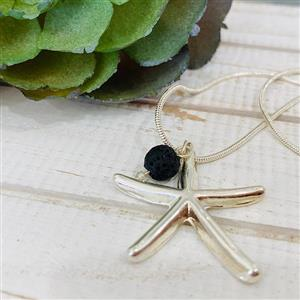 <p>This gorgeous Starfish is sterling silver with lava stone attached. <br />Simply add your favourite oil blend to the lava for some all day goodness. <br />The chain is also sterling silver and I am sure you will love wearing it.</p>