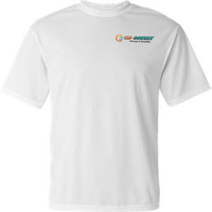 Apparel: Dry Wick Shirt - White - M at Tri-Covery Massage & Flexibility