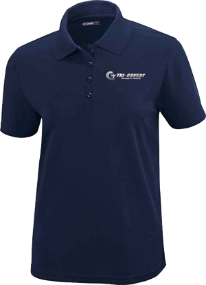 Apparel: Polo - Women - Navy - M at Tri-Covery Massage & Flexibility
