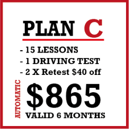 14 x 45 Minutes Auto lesson + 1 lesson and 1 License Test x 1h 45m and 2 Re-tests $40 Off with the same instructor.