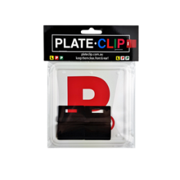 2 x Black Plate Clips with Red P Plates