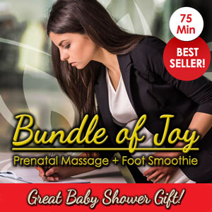"""<p class=""""padLg"""">Your package includes:</p> <ul class=""""vouchers""""> <li class=""""placeHolders""""> Save 10% - $85 for $76</li> <li class=""""placeHolders""""> 70 Minutes of Relaxation</li> <li class=""""placeHolders""""> 1 Hour Prenatal Massage</li> <li class=""""placeHolders""""> Luminosity Foot Smoothie</li> </ul>"""