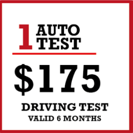 1 x Auto & Manual Licence Driving Test $150 + $25 Travelling Allowance
