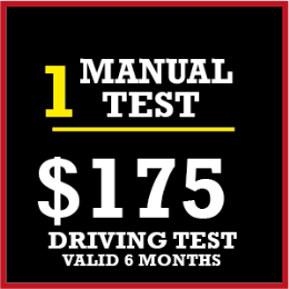 1 x Manual Licence Driving Test $150 + $25 Travelling Allowance